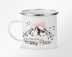 "White camp coffee mug with ""This is my happy place"" written surrounded by a mountain and sunrise"