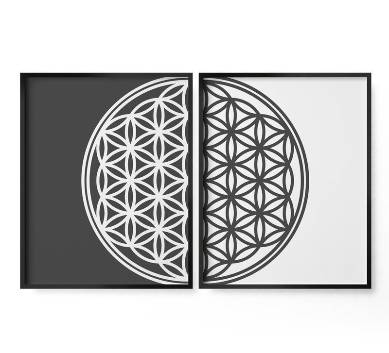 2 Piece Flower of Life Art Print - Loftipop