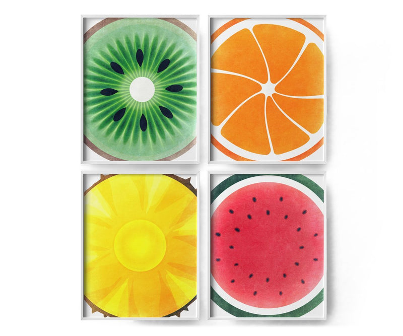 4 Set Fruit Art Prints - Kiwi, Orange, Pineapple, Watermelon - Loftipop