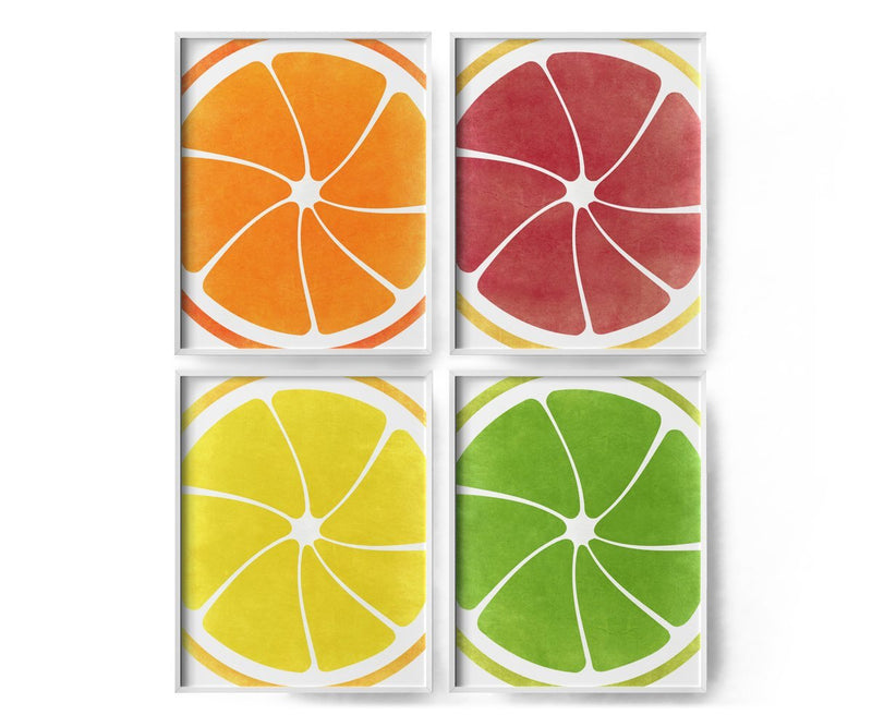 4 Set of Citrus Art Prints- Orange, Grapefruit, Lemon, Lime - Loftipop