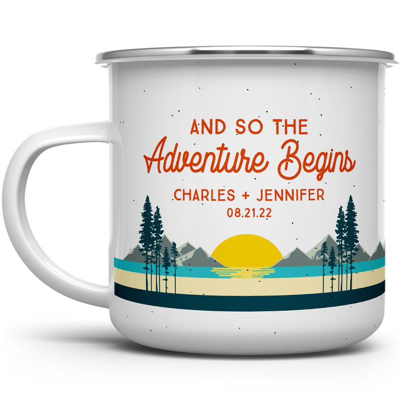 Personalized Couples Camp Mug - And So The Adventure Begins