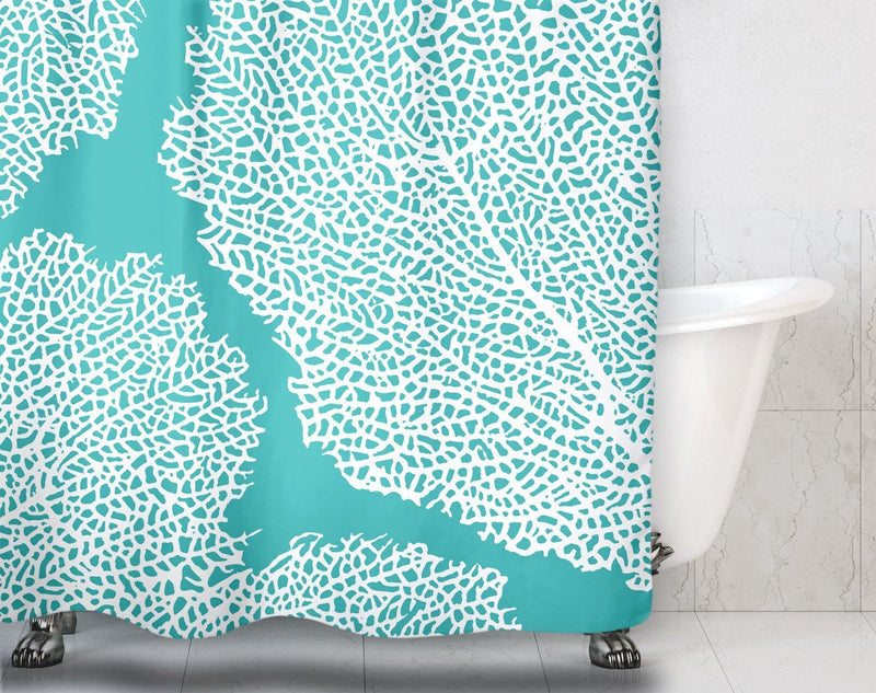 Aqua Coral Shower Curtain - Loftipop