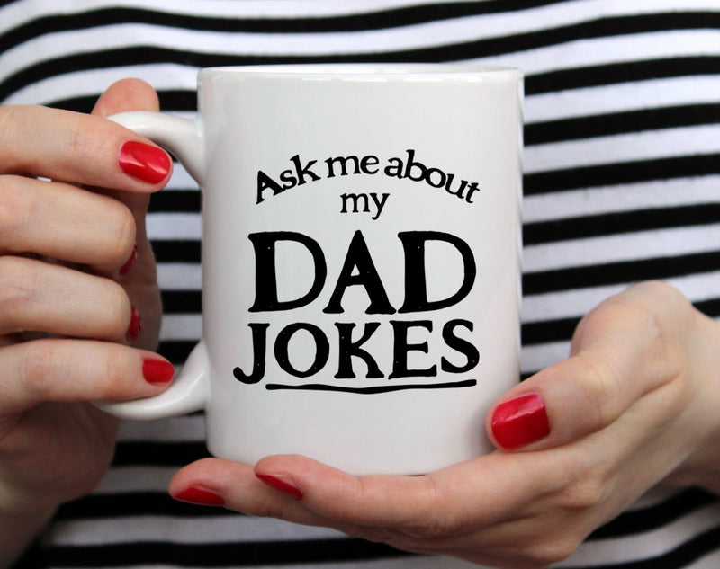 Ask Me About My Dad Jokes Mug Gift Held