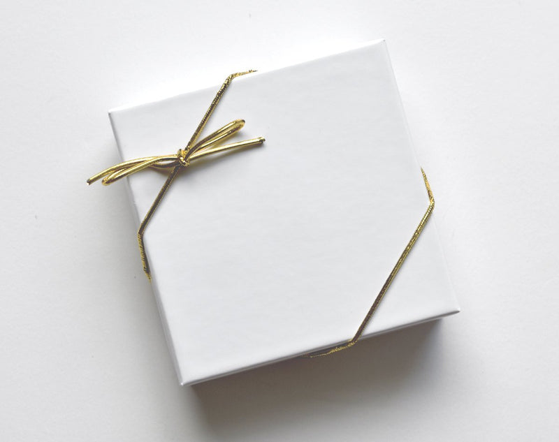 Ornament Box with Gold Ribbon