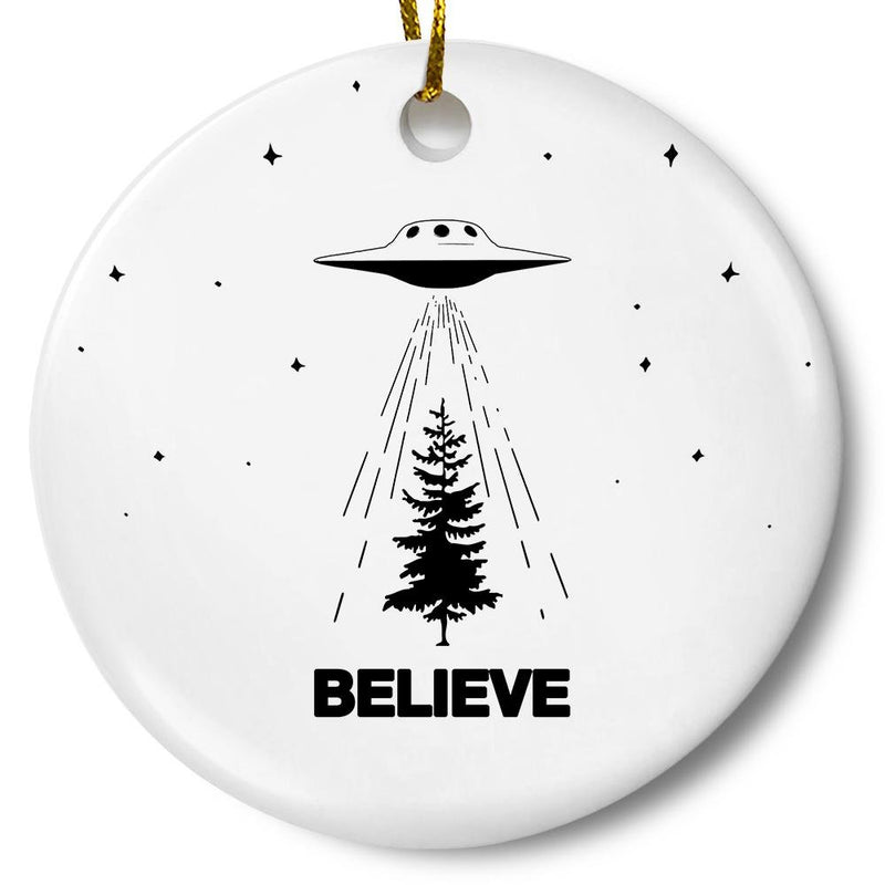 Believe UFO Christmas Tree Ornament - Loftipop
