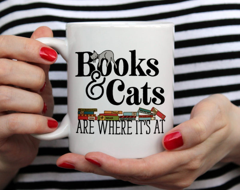 Books & Cats are Where It's At Mug - Loftipop
