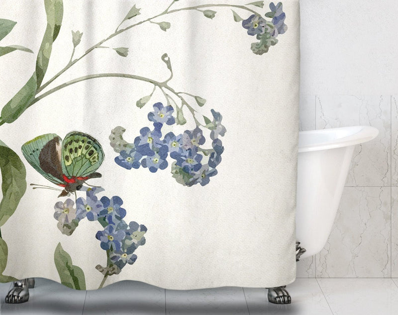 Botanical Butterfly Shower Curtain - Loftipop