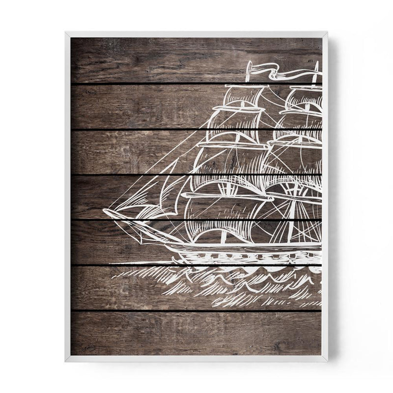 Brown Faux Wood Sailboat Art Print - Loftipop