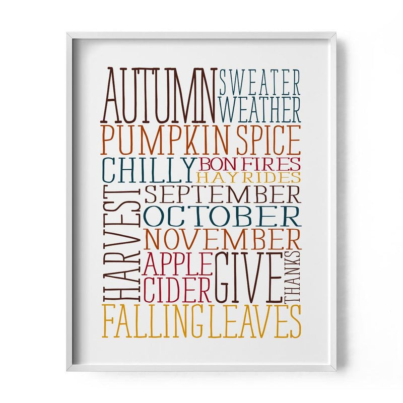 Fall Words Art Print - Loftipop