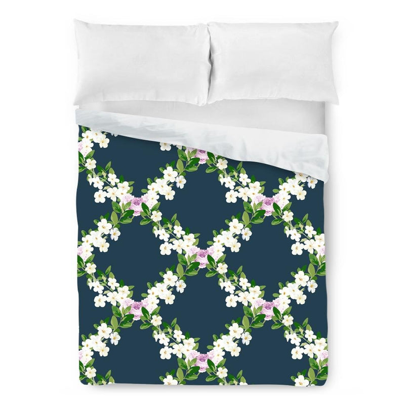 Floral Lattice Duvet Cover - Loftipop