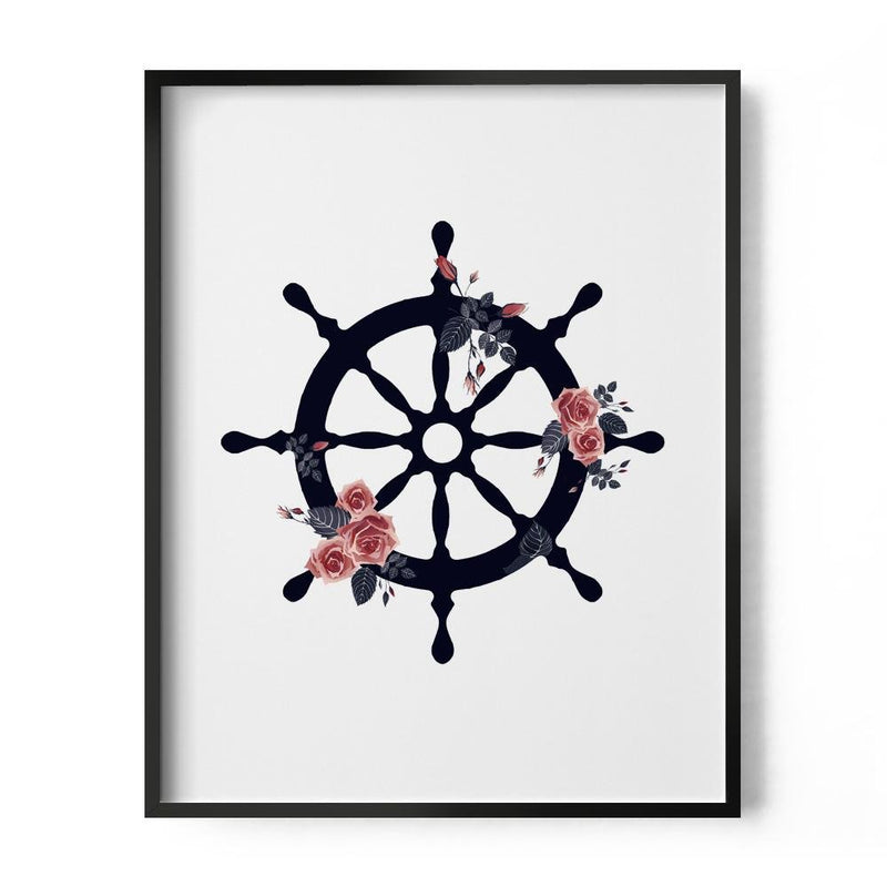 Floral Nautical Ship Wheel Art Print - Loftipop