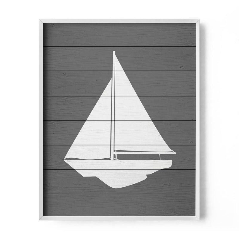 Gray Faux Wood Sailboat Art Print - Loftipop