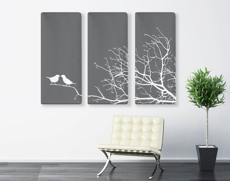 Love Birds Tree Triptych Canvas Wall Art - Loftipop