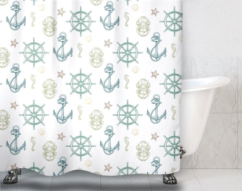 Nautical Pattern Shower Curtain - Loftipop