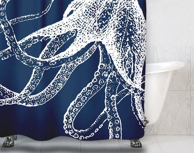 Navy Blue Octopus Shower Curtain - Loftipop