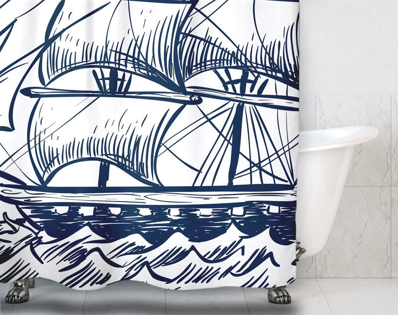 Navy Blue Pirate Ship Shower Curtain - Loftipop