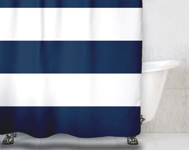 Navy Blue Stripe Nautical Shower Curtain - Loftipop