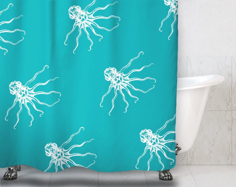Octodiver Pattern Shower Curtain - Loftipop