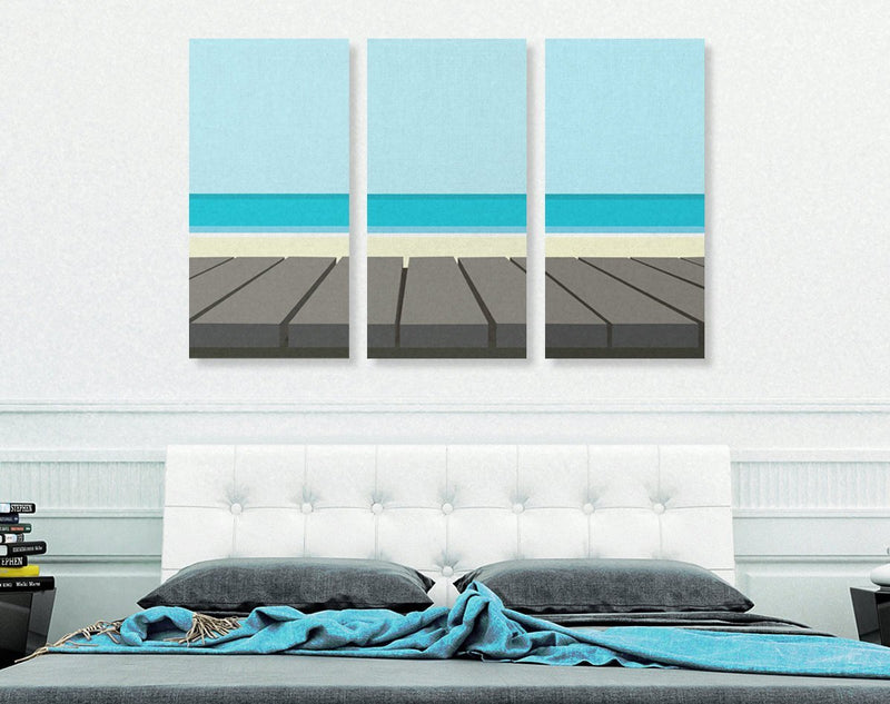 On The Dock Modern Triptych Canvas Print - Loftipop