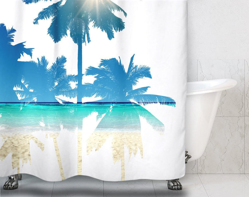 Palm Tree Beach Scene Shower Curtain - Loftipop