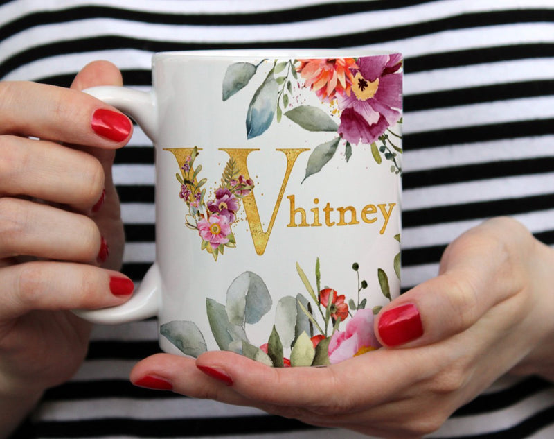 Personalized Name Floral Mug - Loftipop