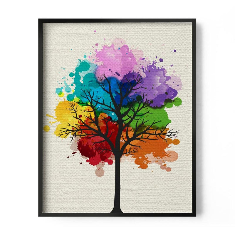 Rainbow Watercolor Tree Art Print - Loftipop