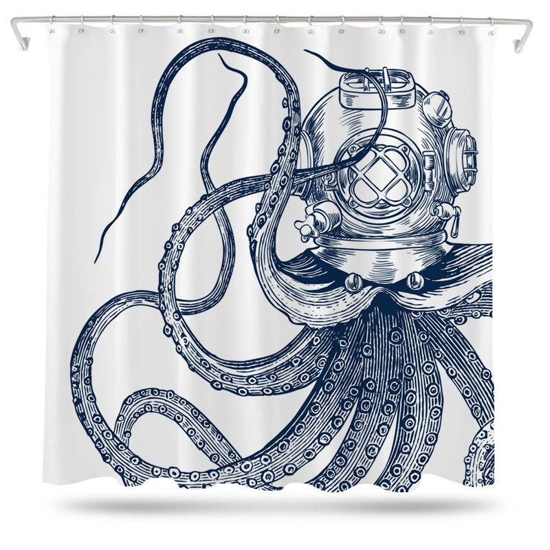 Scuba Octopus Shower Curtain - Loftipop