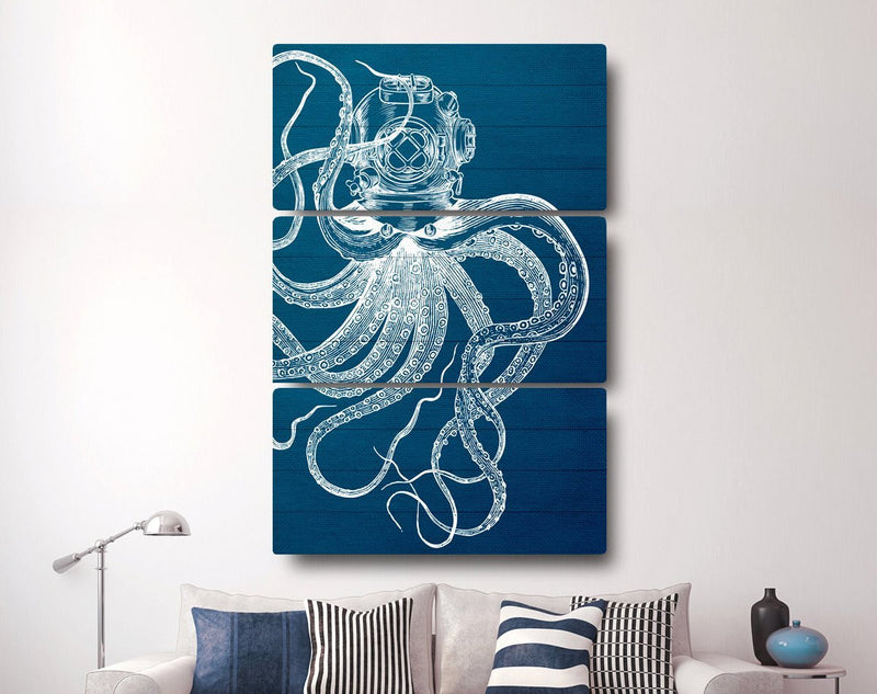 Scuba Octopus Triptych Canvas - Loftipop
