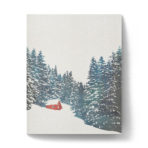 Wall art of a house in the snowy mountains with trees.
