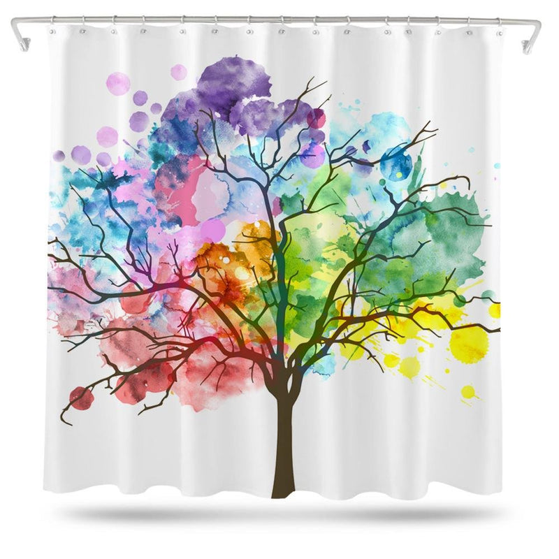 Watercolor Tree Shower Curtain - Loftipop