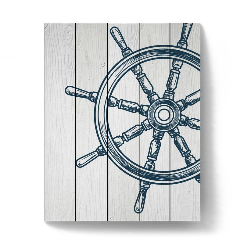 White Faux Wood Nautical Wheel Art Print - Loftipop