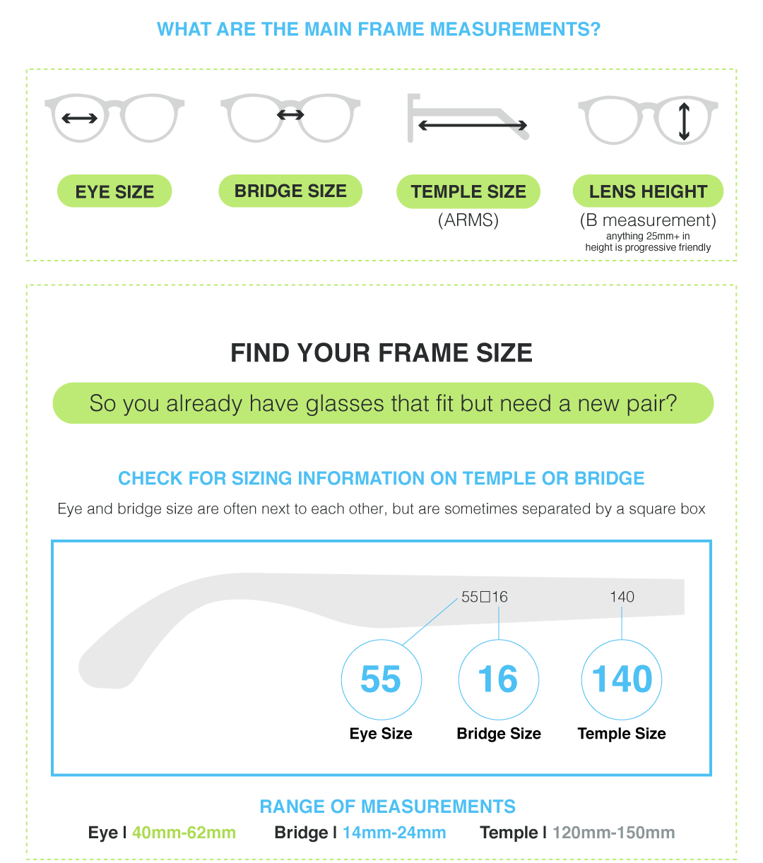 eyeglasses and sunglasses size guide
