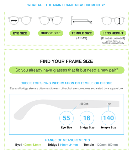 eyeglasses and sunglasses size chart