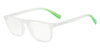 Exchange Armani AX3054F Rectangle Eyeglasses  8258-MATTE TRANSP CRYTSAL 55-19-140 - Color Map grey