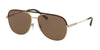 Bvlgari BV5047Q Pilot Sunglasses  202273-BROWN/MATTE PALE GOLD 59-14-145 - Color Map gold
