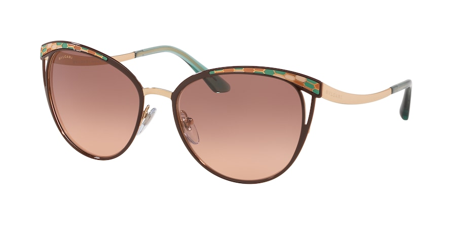 Bvlgari BV6083 Phantos Sunglasses  201413-BROWN/PINK GOLD 56-17-140 - Color Map gold