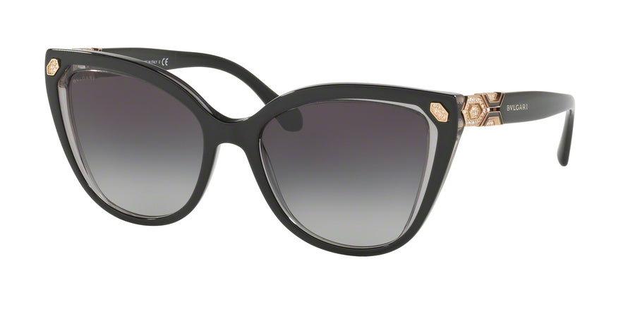 Bvlgari BV8212B Cat Eye Sunglasses  54718G-TOP BLACK ON TRANSPARENT GREY 55-18-140 - Color Map black