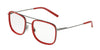 DOLCE & GABBANA DG1288 Square Eyeglasses  04-GUNMETAL/RED 53-18-145 - Color Map red