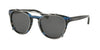 Coach L1652 HC8216 Phantos Sunglasses  547787-BLUE GLITTER VARSITY STRIPE 51-19-135 - Color Map blue