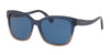 Coach HC8219F Square Sunglasses  547480-DENIM TAUPE GLITTER GRADIENT 56-16-140 - Color Map blue