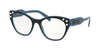 Miu Miu CORE COLLECTION MU02RVA Square Eyeglasses  1031O1-TOP BLACK ON BLUE 52-18-140 - Color Map black
