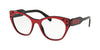 Miu Miu MU02RVA Square Eyeglasses  1051O1-TOP RASPBERRY ON BLACK 52-18-140 - Color Map pink