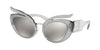 Miu Miu MU04TS Irregular Sunglasses  54Z139-TRANSPARENT LIGHT GREY 53-23-140 - Color Map grey