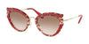 Miu Miu CORE COLLECTION MU05SS Cat Eye Sunglasses  K6G0A6-RASPBERRY HAVANA/BROWN 52-23-140 - Color Map havana