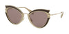 Miu Miu CORE COLLECTION MU05SS Cat Eye Sunglasses  VHY6X1-BROWN 52-23-140 - Color Map green