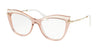 Miu Miu MU06PVA Cat Eye Eyeglasses  VH01O1-TRANSPARENT PINK 53-17-140 - Color Map pink