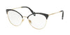 Miu Miu CORE COLLECTION MU50PV Phantos Eyeglasses  1AB1O1-PALE GOLD/MT BLACK/BLACK 54-18-140 - Color Map black