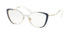 Miu Miu CORE COLLECTION MU51QV Butterfly Eyeglasses  VYE1O1-PALE GOLD/IVORY/BLUE 53-17-145 - Color Map blue