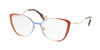 Miu Miu CORE COLLECTION MU51QV Butterfly Eyeglasses  VYF1O1-PALE GOLD/AZURE/RUSSET 53-17-145 - Color Map brown