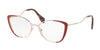 Miu Miu CORE COLLECTION MU51QV Butterfly Eyeglasses  VYG1O1-PALE GOLD/PINK/RED 53-17-145 - Color Map red